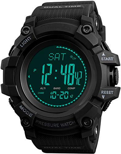 Mens Watch Compass Altimeter Barometer Temperature Digital Outdoor Sports Fitness Pedometer Activity Tracker for Men Military Army