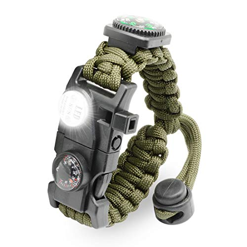 Paracord Survival Bracelet - ARMY GREEN