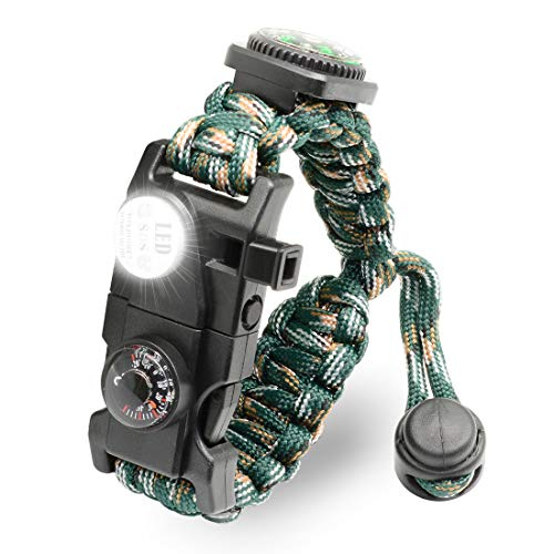 Paracord Survival Bracelet - MOUNTAIN CAMO