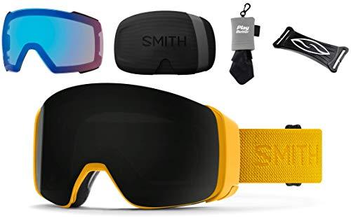 PlayBetter Smith Optics 4D MAG Snow Goggles Bundle - Hornet Flood/Sun Black