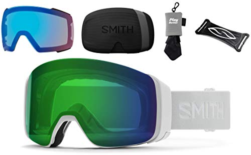 PlayBetter Smith Optics 4D MAG Snow Goggles Bundle - White Vapor/Everyday Green Mirror