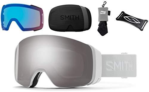 PlayBetter Smith Optics 4D MAG Snow Goggles Bundle - White Vapor/Sun Platinum Mirror