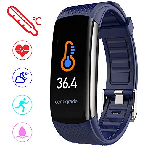 PYBBO Fitness Tracker with Body Temperature - Blue