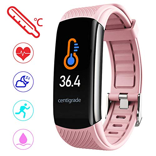 PYBBO Fitness Tracker with Body Temperature - Pink