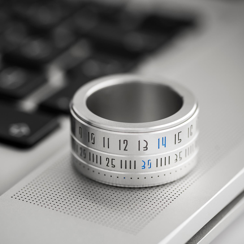 Ring Clock // Metal Ring + Blue LED (Size 6.5) - Ring ...