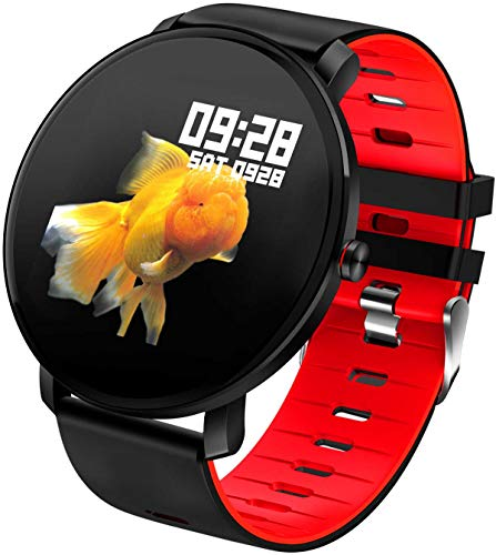 Round Touchscreen Smart Watch IP68 - SILICONE RED