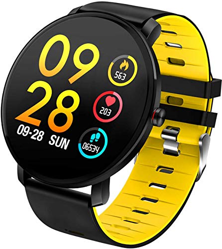 Round Touchscreen Smart Watch IP68 - SILICONE YELLOW