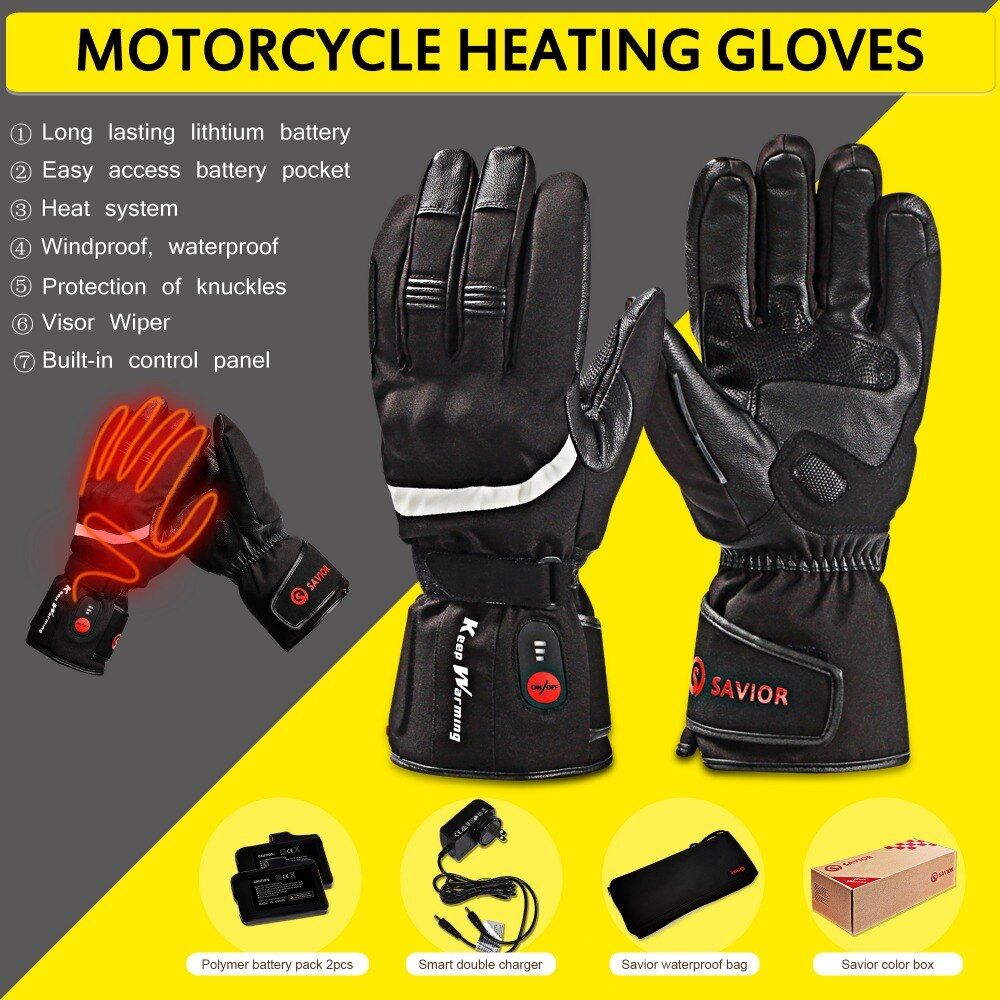 SAVIOR HEAT Motorcycle Outdoor Electric Heated Gloves ...