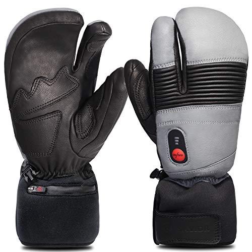 Savior Heated Gloves for Men and Women, Full Leather Mitten for Skiing, Skating,Arthritis Gloves (L, Black/Grey)