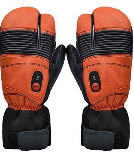 Savior Heated Gloves for Men and Women, Warm Gloves for Cycling Motorcycle Hiking Skiing Mountaineering, Works up to 2.5-6 hours (XL, Orange)