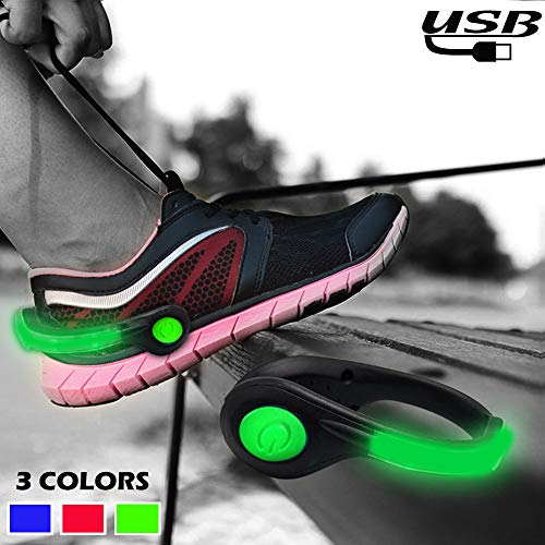 Shoe Lights LED Safety Lights for Running at Night - High Visible USB Rechargeable Light Weight Reflective Gear Sports Accessories for Night Running Walking Hiking Biking Jogging (one pair) (Green)