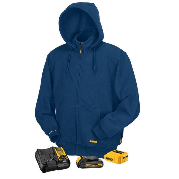 Shop Dewalt Blue Fleece MAX Lithium-ion Heated Hoodie with ...