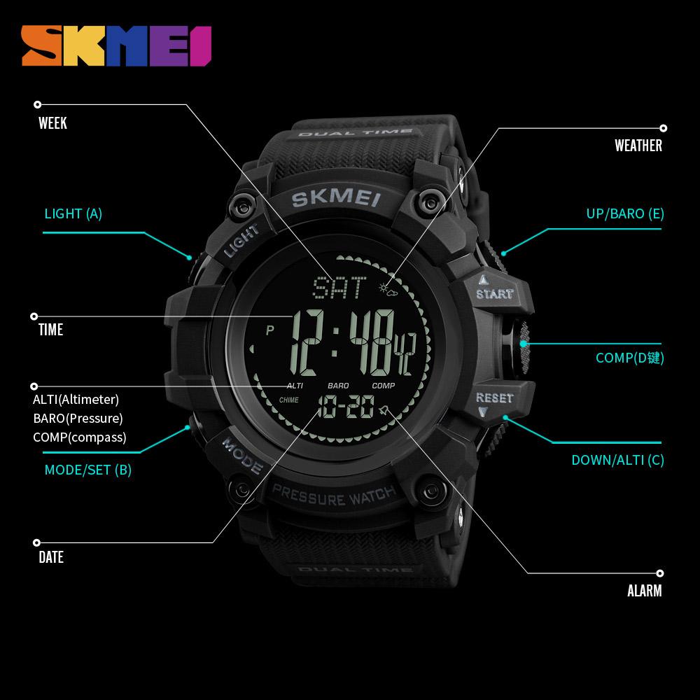 SKMEI 1358 MG02 Men Sport Countdown Pressure Compass Watch ...