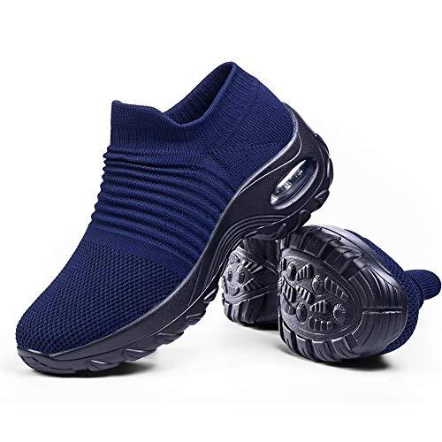 Slip on Breathe Mesh Walking Shoes Women Fashion Sneakers Comfort Wedge Platform Loafers Navy Blue,5.5