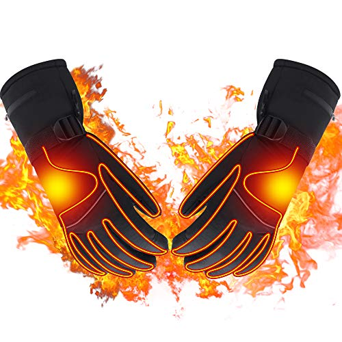 Spring Heated Gloves with Rechargeable Battery Heated for Men and Women,Waterproof Thermal Insulation Gloves Winter Warm Gloves for Skiing Hiking Mountaineering (7.4V-XL)
