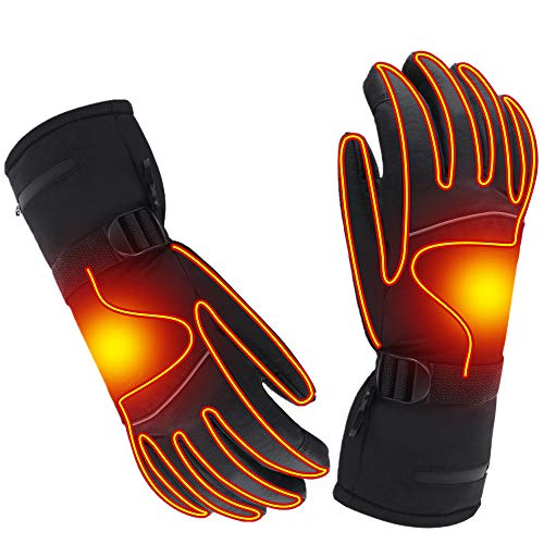 Spring Heated Gloves with Rechargeable Battery Heated for Men and Women,Waterproof Thermal Insulation Gloves Winter Warm Gloves for Skiing Hiking Mountaineering (7.4V-L)