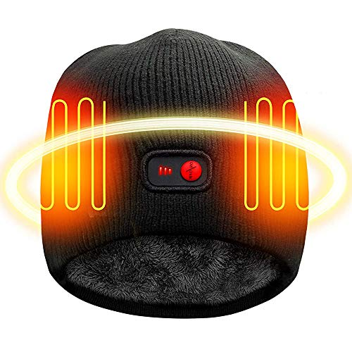 SVPRO Rechargeable Battery Heated Beanie Hat,7.4V Li-ion Battery Warm Winter Heated Cap,Works up to 2.5-6H(Black-X)