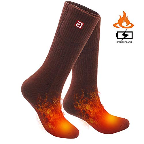 SVPRO Rechargeable Electric Heated Socks - (Brown(Top Heat), L)