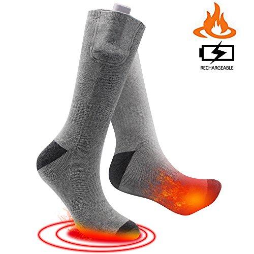 SVPRO Rechargeable Electric Heated Socks - (Gray(Bottom Heat), M)