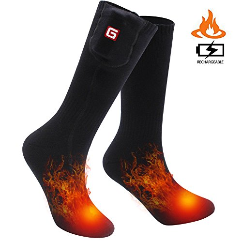 SVPRO Rechargeable Electric Heated Socks - Black(Top Heat), M)