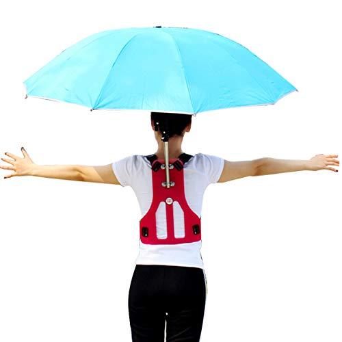 "TOYPOPOR 42"" Hands Free Umbrella Outdoor Foldable Sun Rain Umbrella Multifunction Fishing Camping Umbrella with Hands Free Chest"