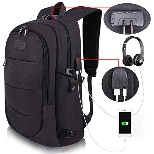 Tzowla Anti-Theft Backpack with USB Charging Port and Lock -BLACK