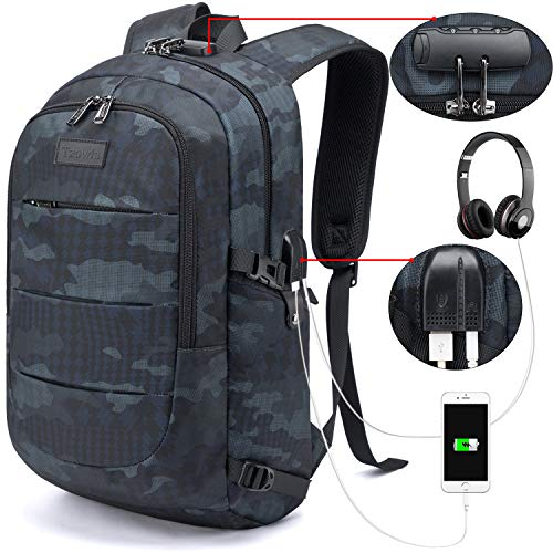 Tzowla Anti-Theft Backpack with USB Charging Port and Lock -BLUE CAMO