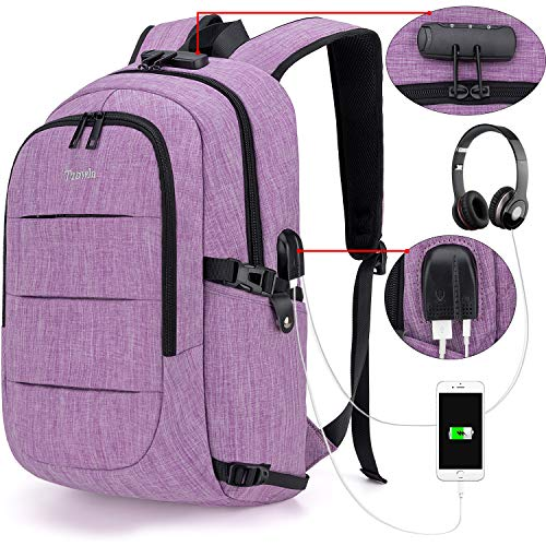 Tzowla Anti-Theft Backpack with USB Charging Port and Lock -PURPLE