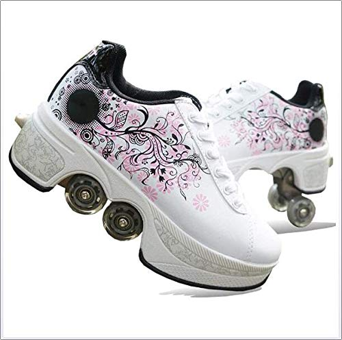 Walking Invisible Deformation Roller Skating Pulley Shoes - WHITE/PINK