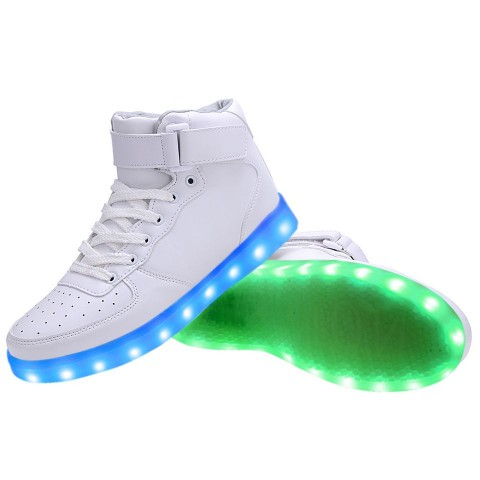Women High Top USB Charging LED Light Up Shoes Flashing ...