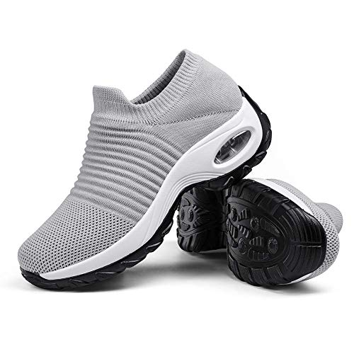 Women's Breathable Walking Tennis Shoes - Casual Slip on Sock Sneakers Nursing Work Shoes Platform Pure Grey,5.5