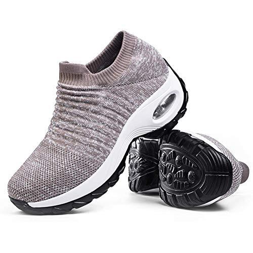 Women's Slip on Walking Shoes - Comfortable Loafers Casual Non-Slip Nursing Shoes Fashion Sneakers Platform Khaki,5.5