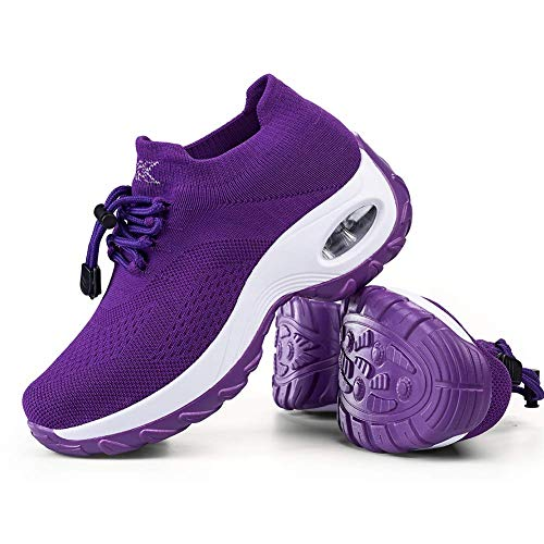 Women's Walking Shoes Sock Sneakers - Mesh Breathable Air Cushion Fashion Sneakers Platform Arch Support Workout Shoes Lace-up Pure Purple,5.5