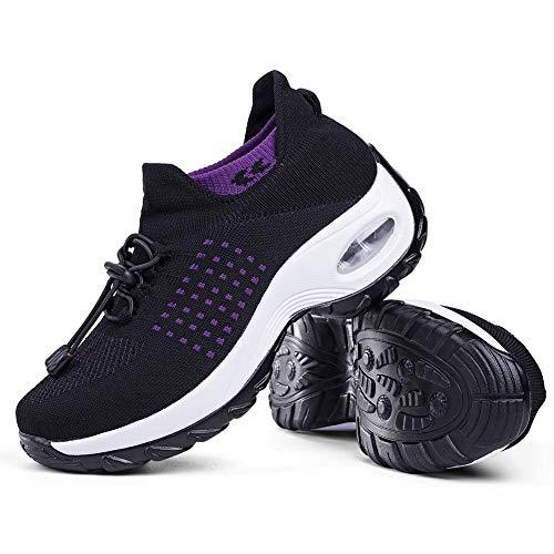 Women's Walking Shoes Sock Sneakers - Mesh Easy Lace Air Cushion Lady Girls Modern Jazz Dance Platform Nursing Shoes Purple&Black,5.5