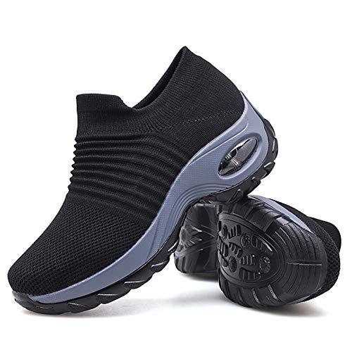 Women's Walking Shoes Sock Sneakers - Mesh Slip On Air Cushion Lady Girls Modern Jazz Dance Easy Shoes Platform Loafers Black,5.5