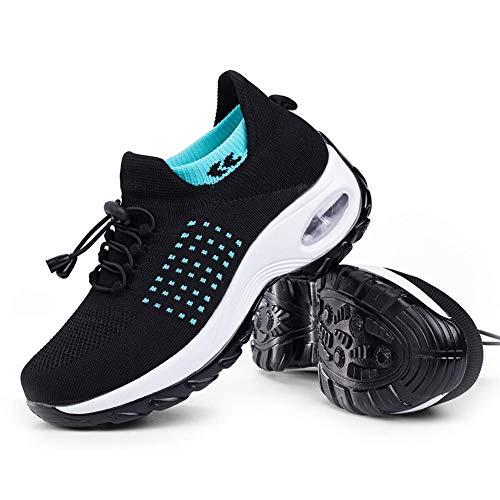 Women's Walking Shoes Sock Sneakers - Mesh Slip On Air Cushion Lady Girls Modern Jazz Dance Easy Shoes Platform Loafers Cyan&Black,5.5