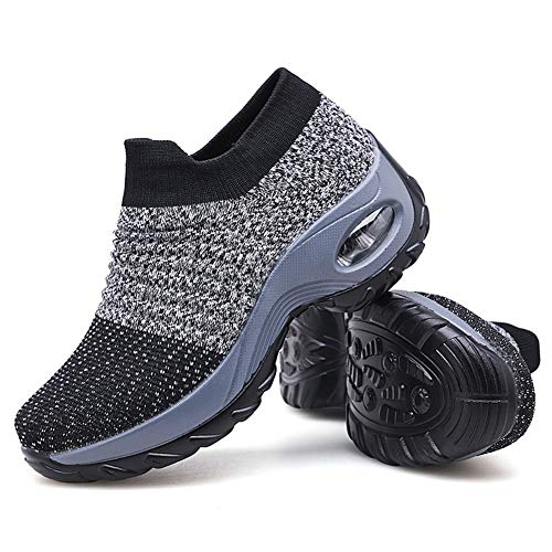 Women's Walking Shoes Sock Sneakers - Mesh Slip On Air Cushion Lady Girls Modern Jazz Dance Easy Shoes Platform Loafers Grey,5.5