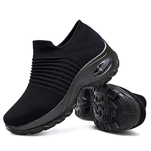 Women's Walking Shoes Sock Sneakers - Mesh Slip On Air Cushion Lady Girls Modern Jazz Dance Easy Shoes Platform Loafers Pure Black,5.5