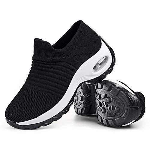 Women's Walking Shoes Sock Sneakers - Mesh Slip On Air Cushion Lady Girls Modern Jazz Dance Easy Shoes Platform Loafers Black&White,5.5