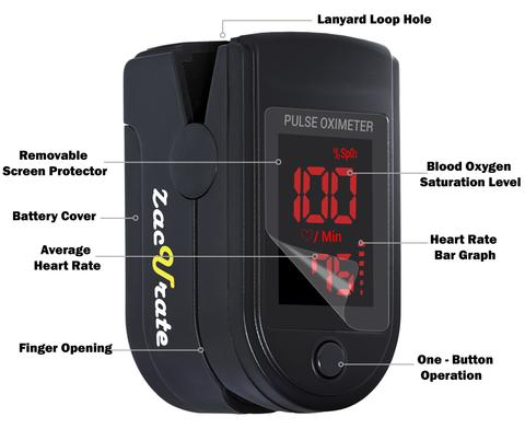 Zacurate Pro Series 500DL Pulse Oximeter Blood Oxygen ...