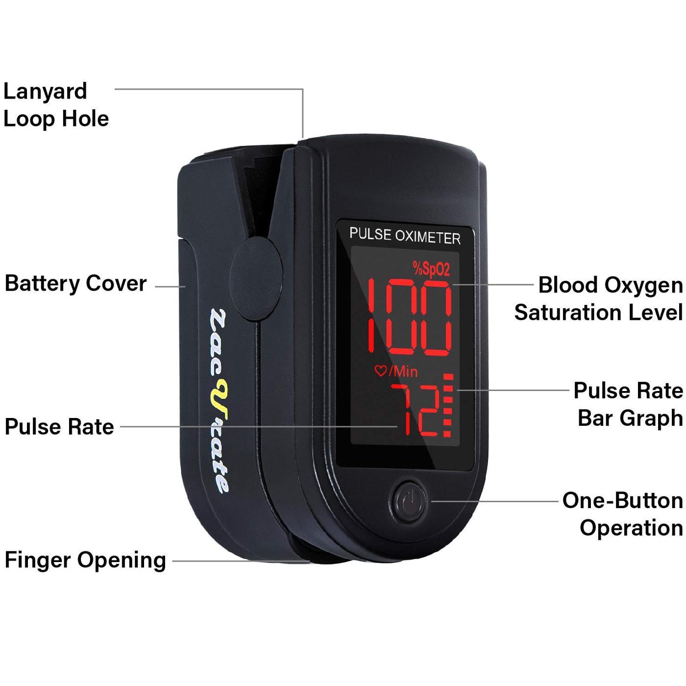 Zacurate Pro Series Black 500DL Fingertip Pulse Oximeter ...