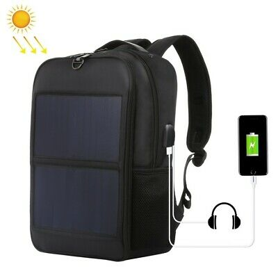 14W Solar Panel Power Backpack Laptop Bag with Handle and 5V / 2.1A Max USB Port