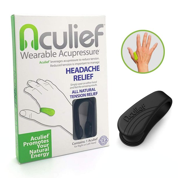 Aculief- Award Winning Natural Headache and Tension Relief - Wearable Acupressure (Black)