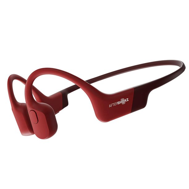 AfterShokz Aeropex Open-Ear Wireless Bone Conduction Headphones with Sport Belt, Solar Red
