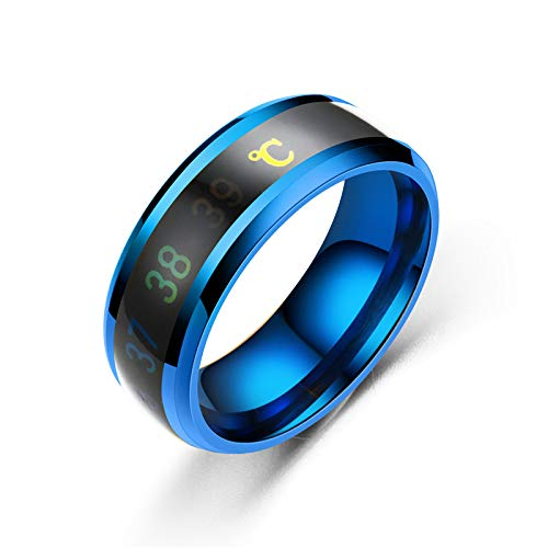 AJEERD Unisex Temperature Monitor Mood Ring - BLUE