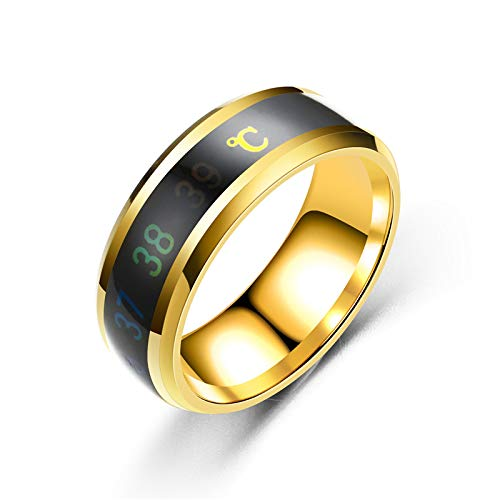 AJEERD Unisex Temperature Monitor Mood Ring - GOLD