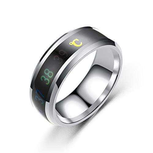 AJEERD Unisex Temperature Monitor Mood Ring - SILVER