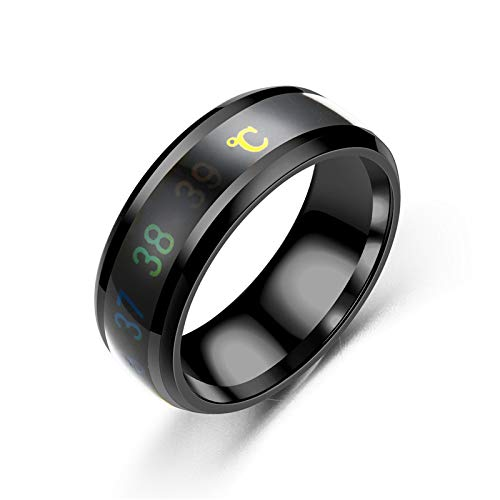 AJEERD Unisex Temperature Monitor Mood Ring - BLACK
