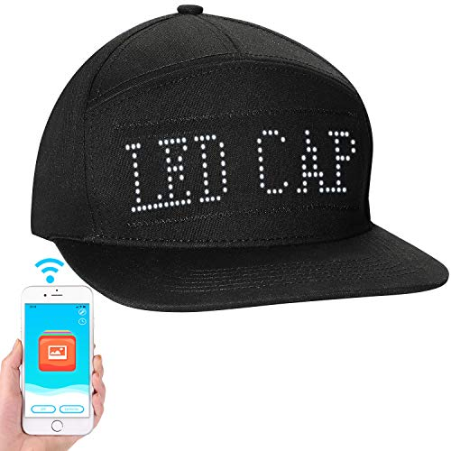 ALAVISXF LED Hats, LED Display Message Caps for Christmas Party Birthday Campaign Hat(Black)