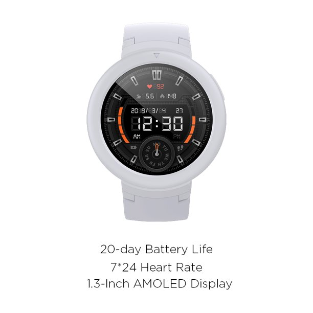 Amazfit Verge Lite by Huami with 20-Day Battery Life,24/7 Heart Rate and Acticity Tracking 1.3 Inch AMOLED Touchscreen IP68, US Service and Warranty,(Moonlight White)